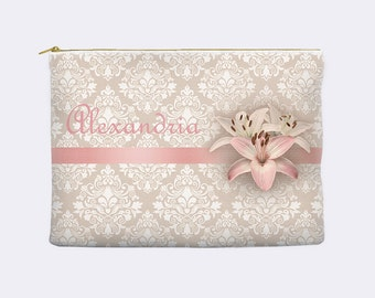 Personalized makeup bag, personalized  bridesmaid gift, pink floral print, zippered pouch, cosmetic pouch, large cosmetic bag, small clutch