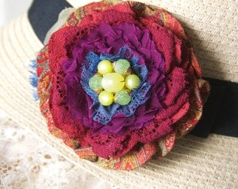 Fabric Flower Brooch, Floral Pin for Hat, Colorful Fiesta Wedding Accessory, Dress Pin, Textile Jewelry, Rainbow Colors, Red Corsage Pin