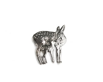 Doe and Fawn Sterling Silver Pin