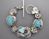 Copper Larimar and Carved Turquoise
