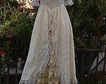 1980s Jessica McClintock White Floral Lace Ruffled Ivory Satin Bridesmaid Steampunk Prairie Prom Woodland Wedding Ankle Length Dress Sz 3