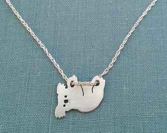 Hanging Koala Bear Necklace, Sterling Silver Pendant, Animal Lover Silhouette Charm