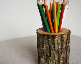 Oak pencil holder, log desk organizer, wood pencil holder