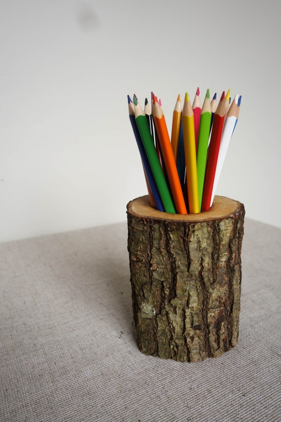 Oak pencil holder log desk organizer wood pencil holder Diy pencil holder for desk