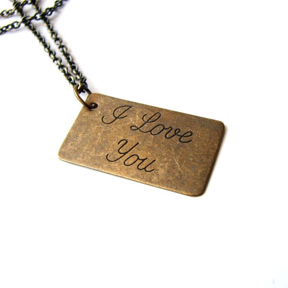 I love you necklace . love letter jewelry . large cursive type Valentine's Day