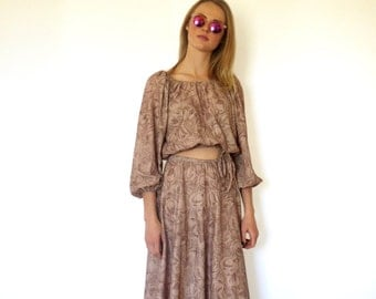 70s Tan Foral Flowy Peasant Crop Skirt Set xs s m
