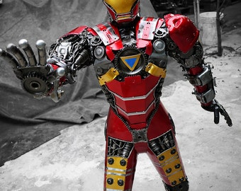 Recycled Metal Man (Gold&Red) (1.25 m / 4.1 ft height) ( made-to-order )