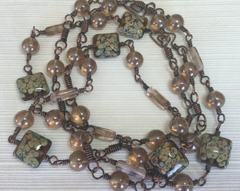 Copper Wire, Vintage and Lampwork Bead Necklace