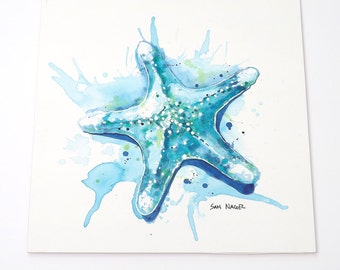Starfish Waters II - Original watercolor painting