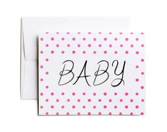 New Baby Card, Baby Girl Card, Baby Card, Baby Congratulations Card - Pink Dots