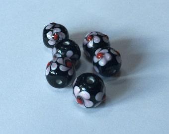 Midnight Garden - Floral Lampwork Beads - 16mm - 6 beads