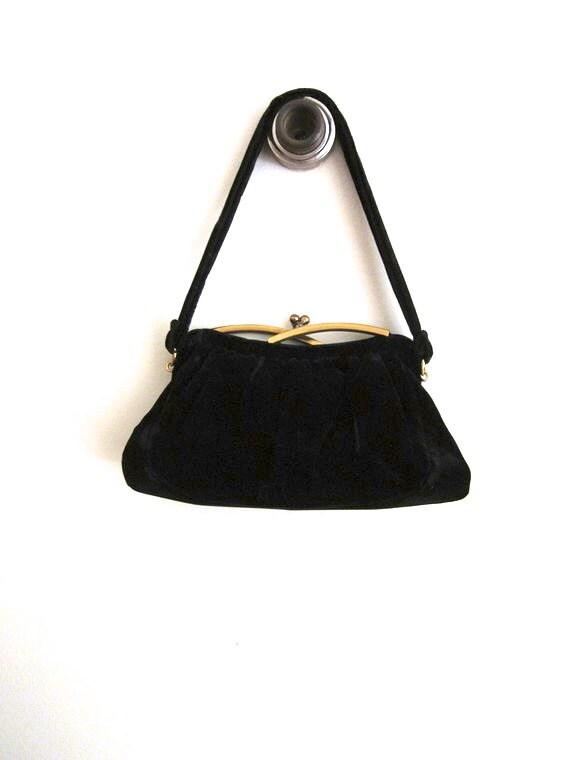 Vintage Black Purse Velvet Purse Art Deco Handbag 1940s Bag Collectors Purse Unique Clasp Closure