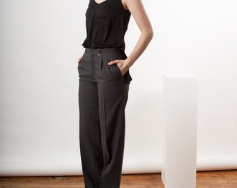 Dark Grey Pants / Comfy High Waisted Trousers / Pleated Vintage Pants