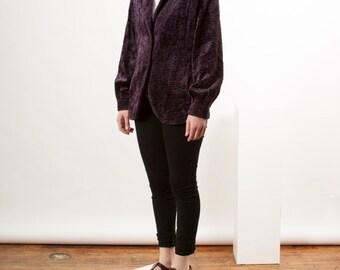 Purple Furry Jacket / Long Sleeve Mauve Vest / Comfy Outerwear Retro Vest