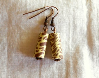 Animal Print Earrings Cylinder Earrings Dangle Earrings Antiqued Copper Earrings