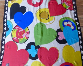 Enrico Coveri Silk Scarf ,Hearts and Flowers Print Scarf/vintage 80s