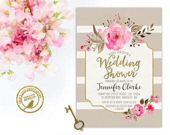 Wedding Shower Invitation,  Stripe, Latte, Pink, Watercolor, Roses, Floral Bridal Shower invite, Printable, Invitation 2525