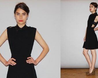 RARE Designer Authentic GUCCI Little Black Cutout Dress with Peter Pan Collar LBD - Vintage Gucci Dress - Vintage Black Dress  - Wd0890
