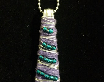 Purple and teal spoon handle necklace