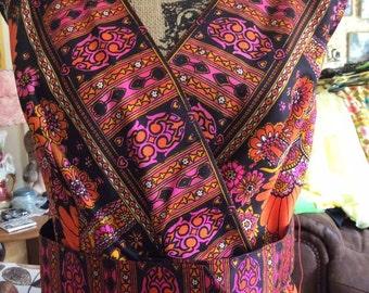Vintage 1970s Dress Long Formal Orange With A Funky Hippie Pattern