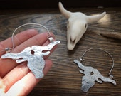 Longhorn earrings, longhorn hoop earrings