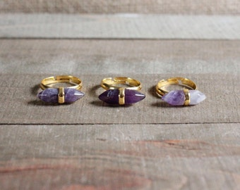 GEMSTONE RING/// Amethyst Gold Double Spike Adjustable Ring/ Purple Amethyst/ Double Terminated Amethyst Stone/ Stone Jewelry/ Natural Stone