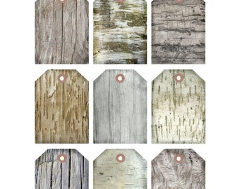 BIRCH TEXTURES Printable Gift Tags, Driftwood, Aspen, Collage Sheet, Digital Gift Tags,wedding Party - Instant Download Digital Print DiY