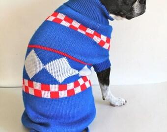 vintage dog sweater - CHECKER blue red & white turtlenecks / M dog