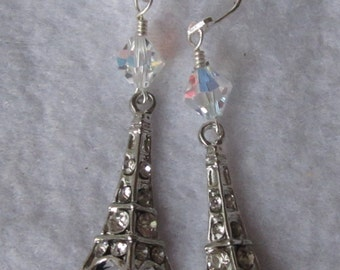 Paris Remembrance Silver and Swarovski Crystal Eiffel Tower Earrings