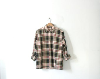 Vintage 60's green and red men's plaid button up shirt, plaid button down shirt, size small