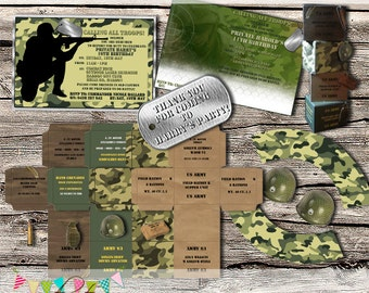 Camo / Army / Military / Laser Tag / Paintball Party Set - DIY - Digital File - Printable - Customised - INSTANT DOWNLOAD
