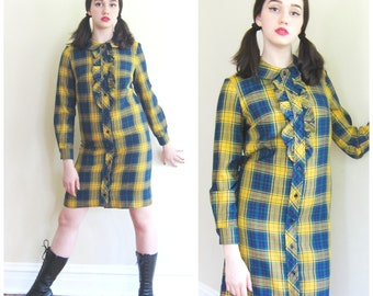 Vintage 1960s Plaid Shirt Dress with Ruffle / 60s Mustard Yellow and Blue Day Dress Cos Cobb Cobbies / Medium