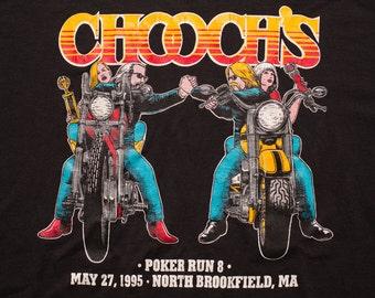 Chooch's Poker Run T-Shirt, Rad Motorcycle Graphic Tee, Biker, Vintage 90s