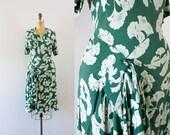 1940s Ginkgo Garden rayon green dress / 40s classic beauty