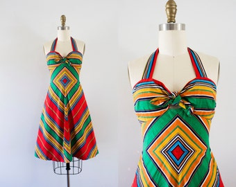 1970s Southern Enclave cotton day dress / 70s sunset