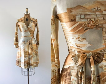 1970s Among The Ruins scenic wrap dress / 70s art deco