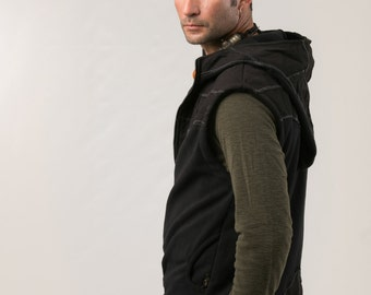Hoodie Vest  For Men -  fleece vest - patch vest - men's clothing