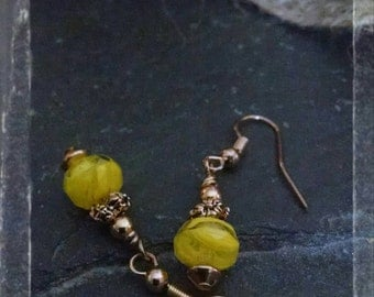 Bright Yellow Czech Glass Bead Earrings