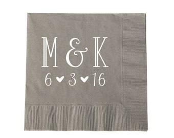 Initial Monogram Wedding Napkins, Wedding Favors, Party Napkins, Engagement Party, Wedding Bar Decor, Party Supplies