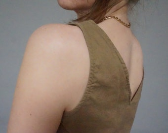 80s cropped neutral tank sleeveless crop top blouse cotton WILD HONEY womens chest pocket hipster indie folk hippie small S scoop vintage M