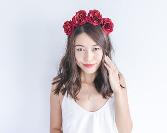 deep red rose crown headband / simple asymmetrical classic flower crown, christmas party festive season, summer, spring, everyday floral