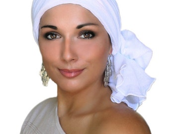 Turban, Chemo Hat, Head Wrap, White Cotton Turban, Alopecia Scarf, White Turban, Hat & Scarf Set 102-11