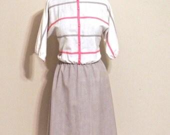vintage linen dress - 1960s-70s Toni Todd white/pink/grey windowpane dress
