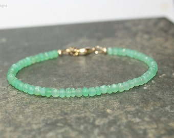 Chrysoprase Bracelet, Chrysoprase Jewelry, Green Beaded, Layering, Minimalist, Gemstone Jewelry