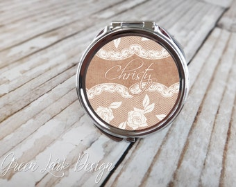 Bridesmaid Gift - Personalized Compact Mirror - Burlap and Lace