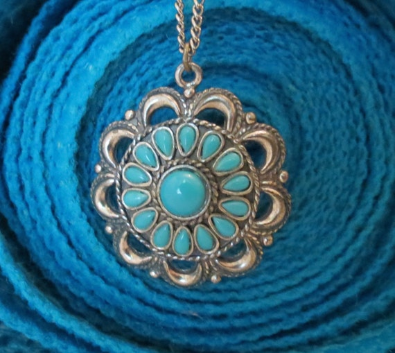 Sancrest costume jewelry faux turquoise petit point pendant for Turquoise colored fashion jewelry