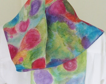Hand painted silk scarf pink purple orange textured 8x54 design