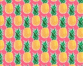 Tropical Pineapple Fabric by the Yard - Pink