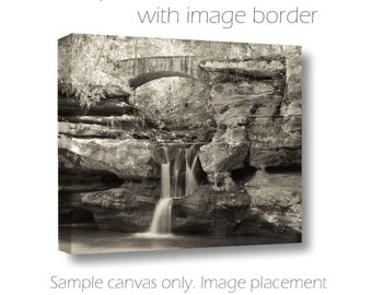Waterfall Photography-Hocking Hills Photography-Old Mans Cave Photograph-Ohio-Sepiatone Art-Canvas Wrap-Woodland Art-Bridge Photograph