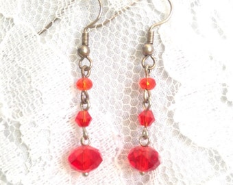 Red Swarovski Crystal and Silver Hook Drop Bead Dangle Earrings - Mid Century Modern - Vintage Inspired